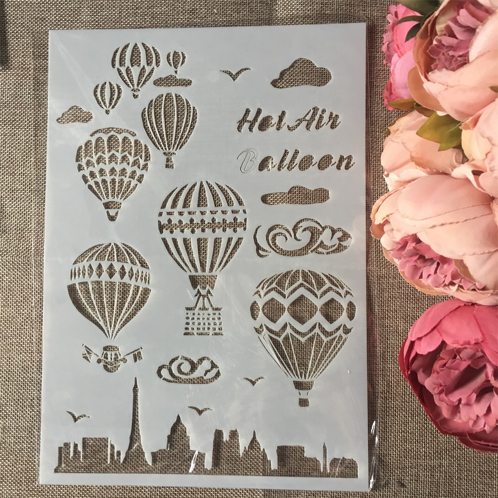 1Pcs PA4 Hot Air Balloon Craft DIY Layering Stencils Wall Painting Scrapbook Coloring Embossing Album Decorative Paper Template
