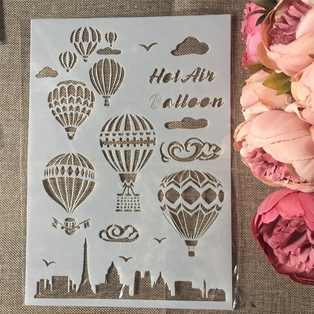1Pcs PA4 Hot Air Balloon Craft DIY Layering Stencils Wall Painting Scrapbook Coloring Embossing Album Decorative Paper Template