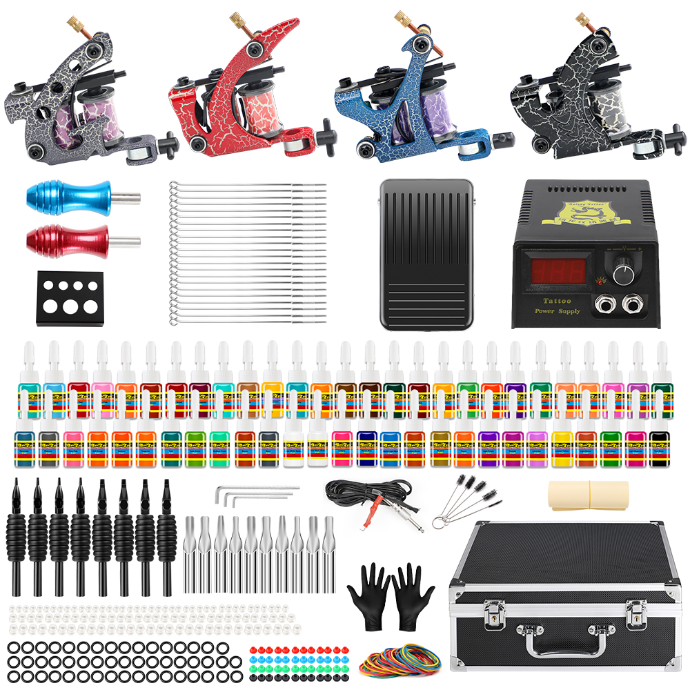 Hybrid Tattoo Professional Complete Tattoo Kit for Beginner 4 Pro Machine 54 Ink set Needles Power Supply Grip Carry Case TK456Hybrid Tattoo Professional Complete Tattoo Kit for Beginner 4 Pro Machine 54 Ink set Needles Power Supply Grip Carry Case TK456