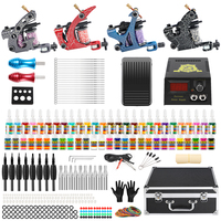 Hybrid Tattoo Professional Complete Tattoo Kit for Beginner 4 Pro Machine 54 Ink set Needles Power Supply Grip Carry Case TK456