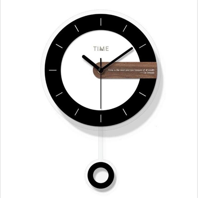 Deux-pièces horloge murale Design moderne ronde acrylique aiguille pour décoration de la maison nordique Wagtail horloge murale montre simple Face - 3