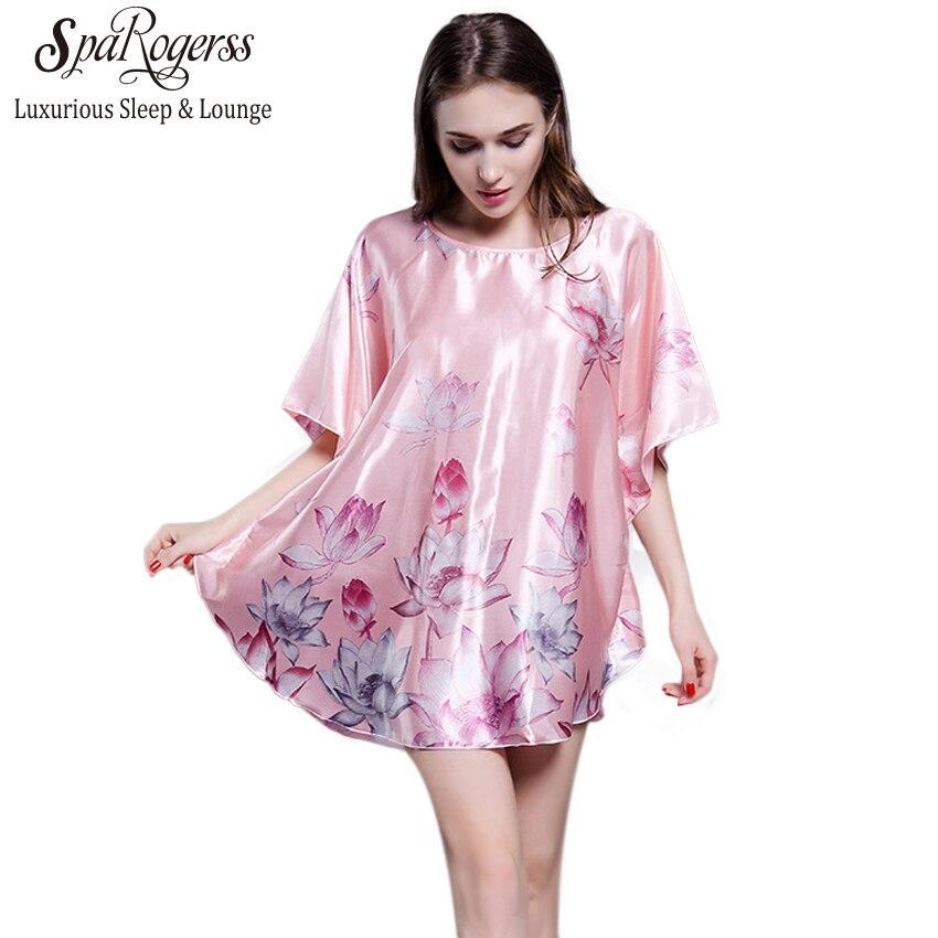 ada780a32a SpaRogerss Women Sleepshirt 2018 Brand Lady Nightgowns Faux Silk Fashion  Home Sleep Lounge Print Female Dressing Gowns YT114-in Nightgowns    Sleepshirts ...