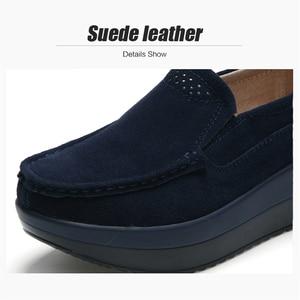 Image 4 - 2019 סתיו נשים פלטפורמת סניקרס נעלי עור זמש להחליק על עבה סוליות נעלי אוקספורד נעלי נשים מטפסי מוקסינים נשים 3213