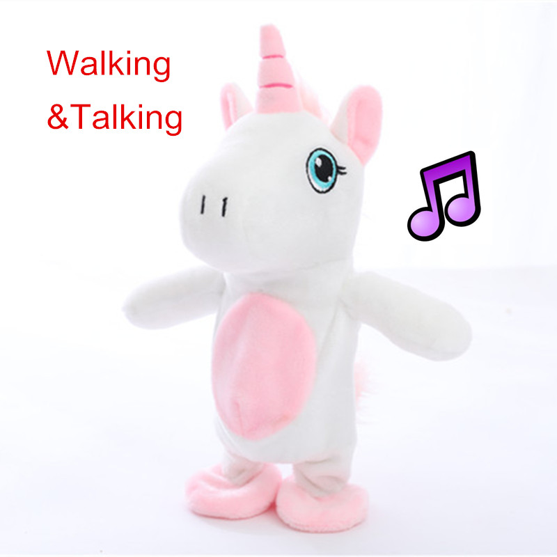 1pc 18cm Walking&Talking Unicorn Plush Toy Sound Record Plush Unicorn Stuffed Toys for Kids Buy 1 Get 1 Rattle Toy Free image