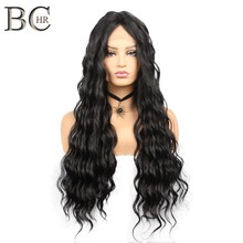 BCHR Loose Wave Wig Natural Black Synthetic Lace Front Wig for Black Women 26 Inches Middle Part Long Wig Heat Resistant Fiber(China)