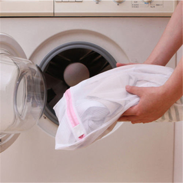 Moda! 9 tamanhos Com Zíper Dobrável Saco de Nylon Lavanderia Meias Sutiã Cueca Máquina de Lavar Roupas de Proteção Sacos de Rede de Malha