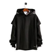 Long Sleeve Fleece Men Sweatshirts Plush Raglan Pullovers Hoodies Mens Street Wear Aesthetic Man Fashion Rave Sweatshirt 6H030