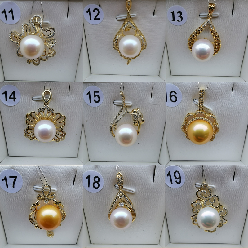 YS 925 Sterling Silver Big Size 13 14mm Round High Luster Freshwater Edison Pearl Pendant Necklace