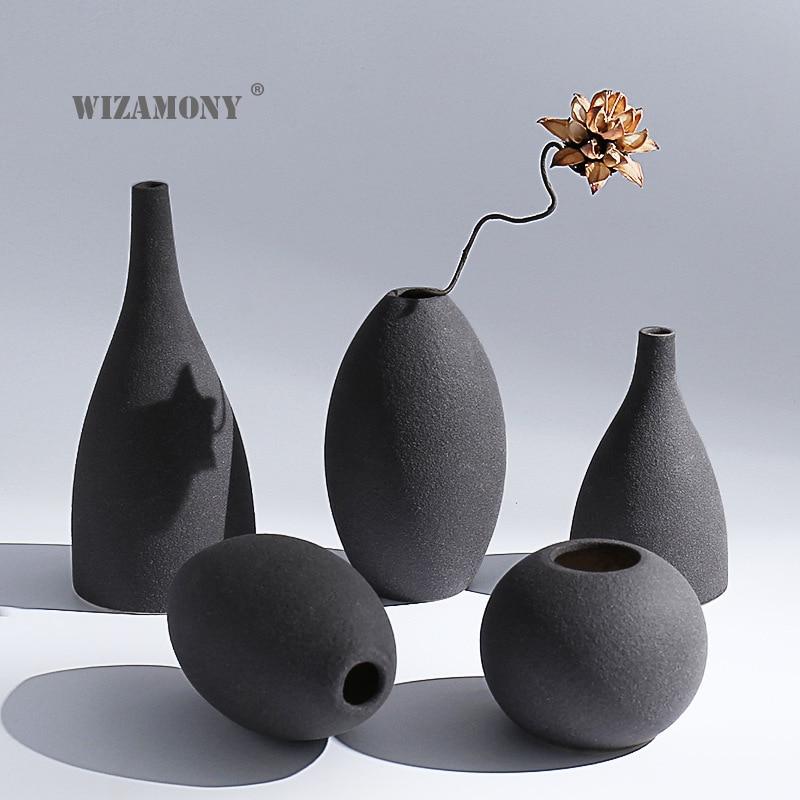 WIZAMONY New Arrival Europe Style Vases Retro Brickware Terra-cotta Ceramic Modern Tabletop Flower Vase For Home Decoration