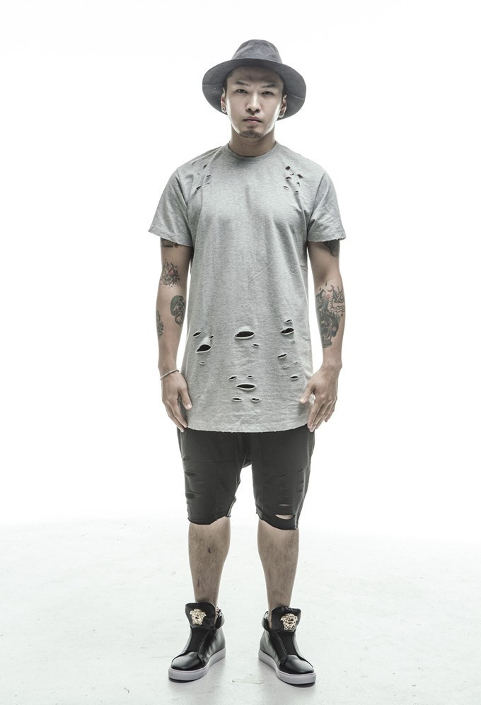 2015 Summer Man T shirt Fashion Sports Tee Style Short Sleeve Hole ...