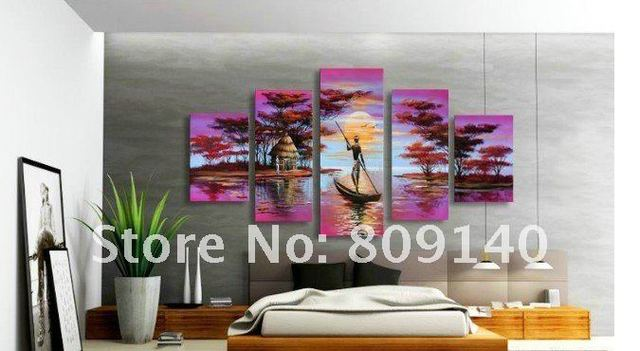 stretched african purple landscape oil painting canvas big size artwork handmade modern home office hotel wall - Purple Hotel Decor
