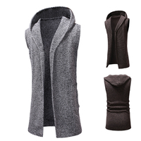 Winter Men Sweater Cardigan Long Camisa Masculina Mens Hooded Knit Sweater Fashion Sleeveless Long Trench Coat Knitted Jacket