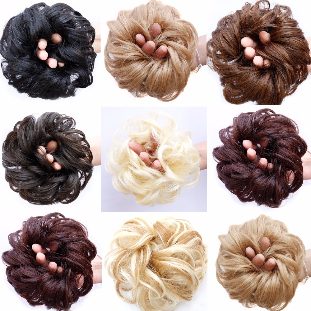JINKAILI Synthetic Chignon With Rubber Band Brown Blonde Women Curly Chignon Hair Clip In Hairpiece Bun Drawstring