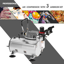 KKmoon Air brush Professionele 3 Airbrush Kit Met Compressor Dual-Action Hobby Spuiten Air Brush Set Tattoo Nail art Verf(China)