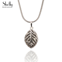 3D Leaf Pendant Necklace CZ Crystal Sweater Chain Fine Quality Jewelry For Women Coffee Gold Silver Color Best Gift Wholesale wholesale fine purple crystal pendants carved gold fish pendant sweater chain necklace luck for women men noble jewelry