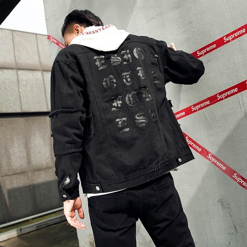 Hot Sale Lenstid 2018 New Winter Ripped Hole Fashion Denim Jacket