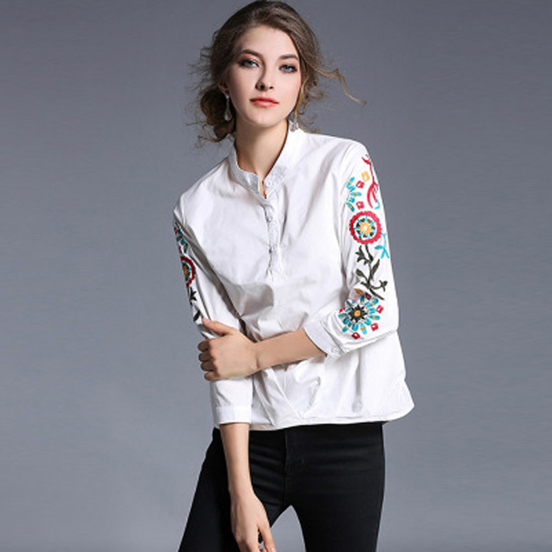 Automne Femmes White Casual Femme Impression Chemise Manches Et D'été Mode Date Blouse Régulier Shirt Sprint Complet 87Zx5qwnR