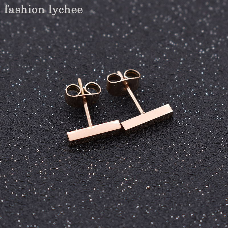 fashion lychee Simple Design Smooth Rectangle Stud Earrings Short Rose Gold Surgical Stainless Steel Women Earrings