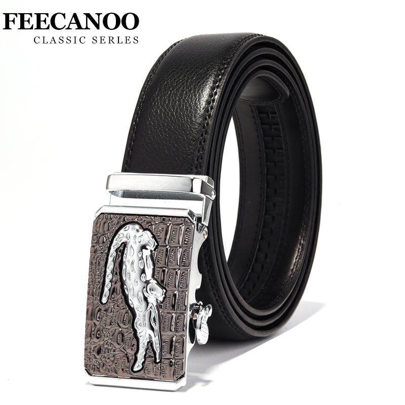 FEECANOO Designer Belts Men High Quality Male Genuine Leather Strap Luxury Famous Brand Logo Crocodile Silver Gold Ceinture Homm