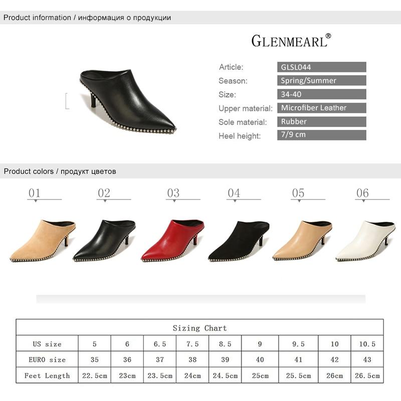 Véritable cuir femmes pantoufles Mules chaussures talons hauts daim Pointe orteil chaussures d'été femme marque femme diapositives grande taille noir DE - 6