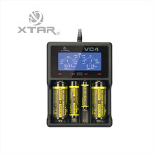 Original XTAR VC4 Charger Universal LCD Screen Display USB Ni-MH/Ni-CD Li-ion Battery Charger Retail Package