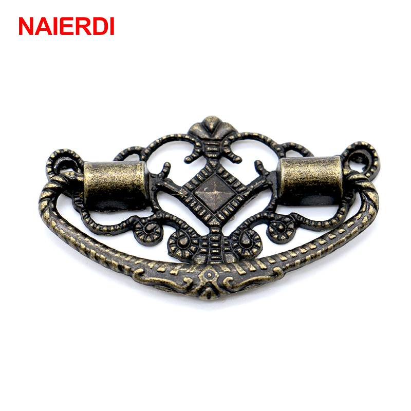 4PCS NAIERDI 48mm x 25mm Bronze Tone Cabinet Knobs Drawer Handles Cupboard Pulls Box Handle With Screws For Furniture Hardware