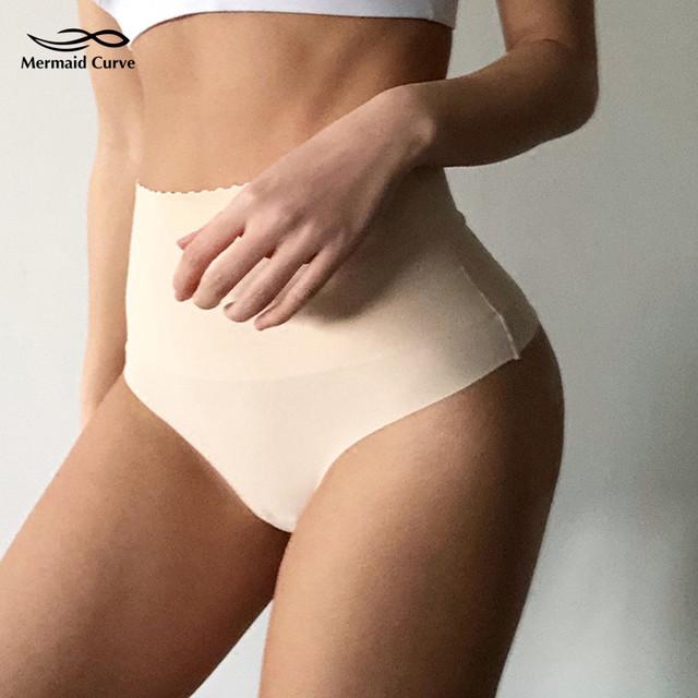 Mermaid Curve Women High Waist Seamless Panties For Women Slimming Sports Yoga Shorts Sexy Hip Curve Underwear T Word Panties