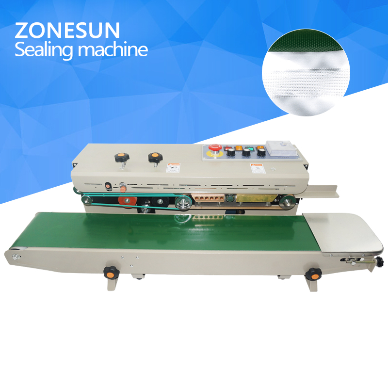 ZONESUN plastic bag soild ink continuous band sealer sealing machine fr-1000, Expanded food band sealer