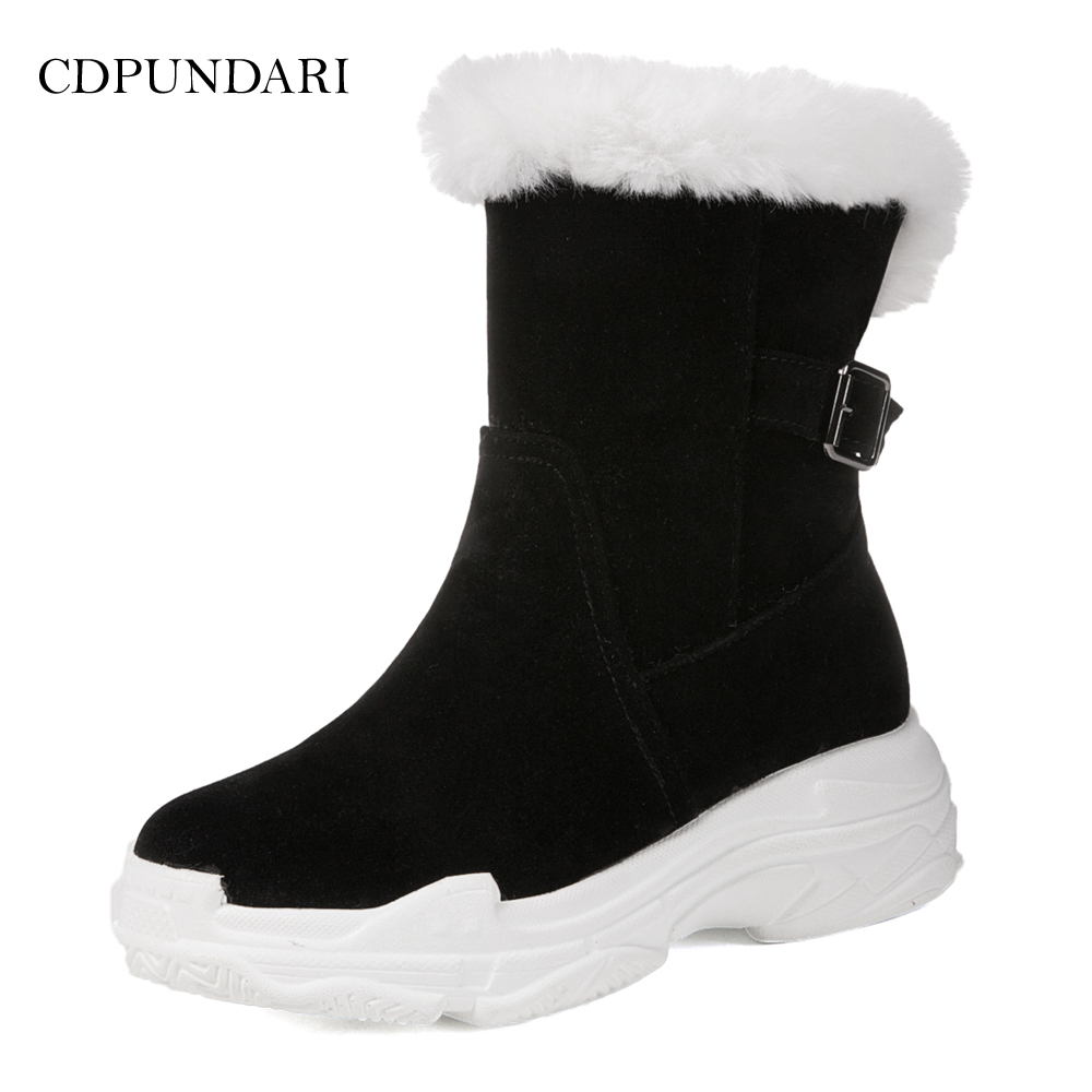 CDPUNDARI Flock Plush Snow Boots women Ankle boots Ladies Flat Platform Winter boots shoes woman ekoak new women snow boots fashion winter boots warm plush ankle boots ladies platform shoes woman flock rubber boots