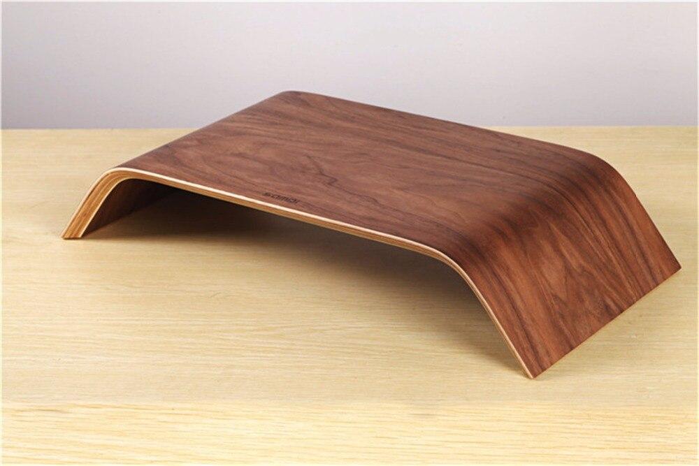 SAMDI - Laptop Walnut Wood Stand Wooden Notebook Desktop Holder PC Display Riser Bracket Stand for Apple iMac Macbook Computer