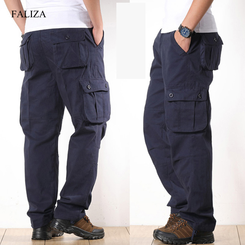 Outwear Cargo-Pants Casual-Trousers Multi-Pockets Military-Style Men Cotton Straight