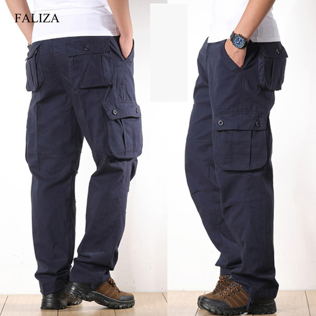 FALIZA Men's Cargo Pants Multi Pockets Military Style Tactical Pants Cotton Men's Outwear Straight Casual Trousers for Men CK102 2