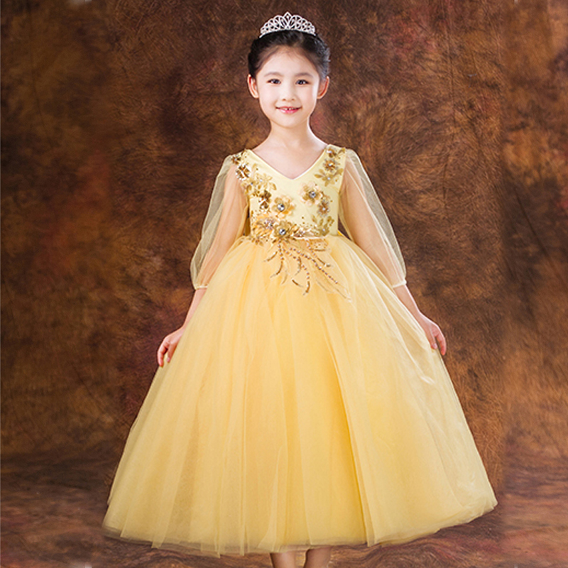 High Quality 2017 Summer Baby Girls Ball Gown Dress Bow Lace Embroidery Princess Prom Party Elegant Flower Girls For Wedding P10