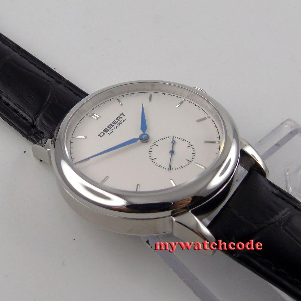 Полированные 40 мм brief deber белый циферблат синие метки автоматические unsex мужские часы 28 - 4