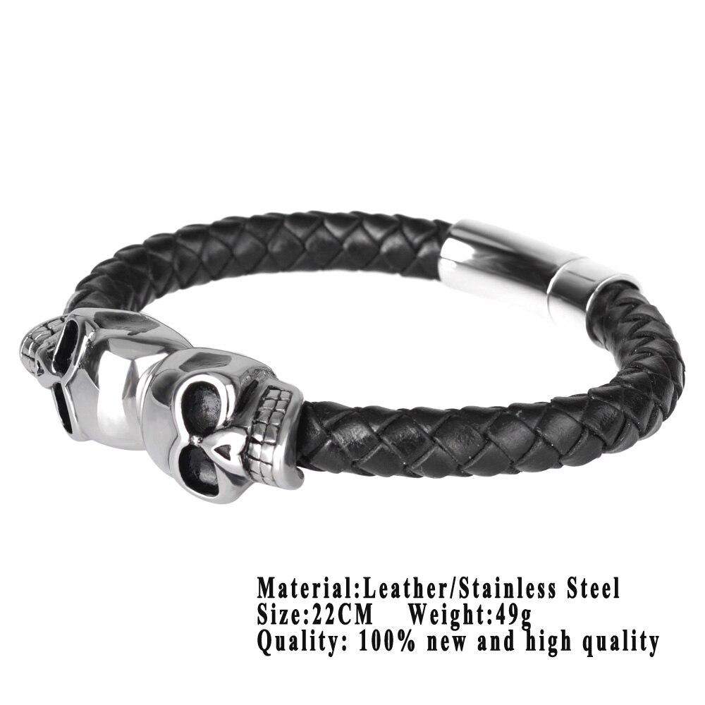 Kirykle mode tressé Bracelets en cuir crâne Bracelet Punk Bracelet en acier inoxydable boucle magnétique Bracelets de mode 5