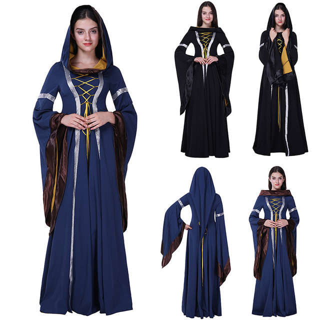 Adult Women Halloween Princess Witch Costume Medieval Renaissance Long Hooded Blue Gown Dress Clothing For Ladies  sc 1 st  AliExpress.com & Adult Women Halloween Princess Witch Costume Medieval Renaissance ...