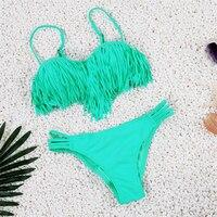4 Colors 2016 Beach Retro Swimsuit Women Top Fring Tassel Bikini Low Waist Thong Brazilian Biquini