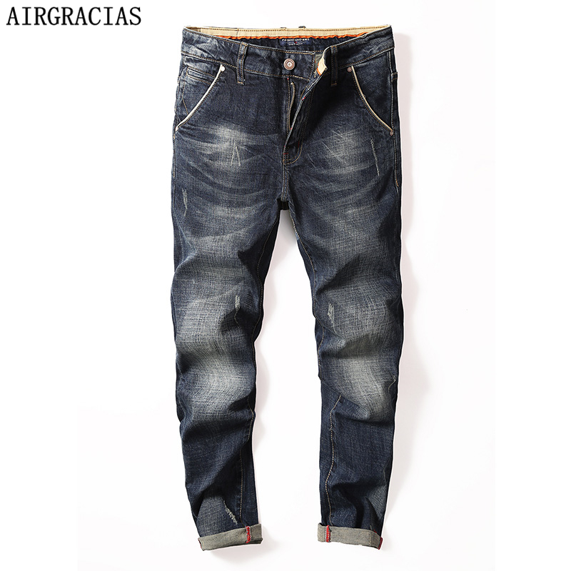 AIRGRACIAS Classic Men Jeans Straight Denim Jean Four Season Men Men Long Pants Trousers Elasticity Biker Jeans Size 28-40 airgracias autumn winter fleece thick jeans men plus size 34 36 38 designer elasticity denim pants trousers brand biker jean men