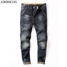 AIRGRACIAS Classic Men Jeans Straight Denim Jean Four Season Men Men Long Pants Trousers Elasticity Biker Jeans Size 28-40