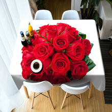 Wedding Decoration 3d Tablecloth Beautiful Red Rose Flowers Pattern Washable Polyester Cotton Rectangular&Round Table cloth