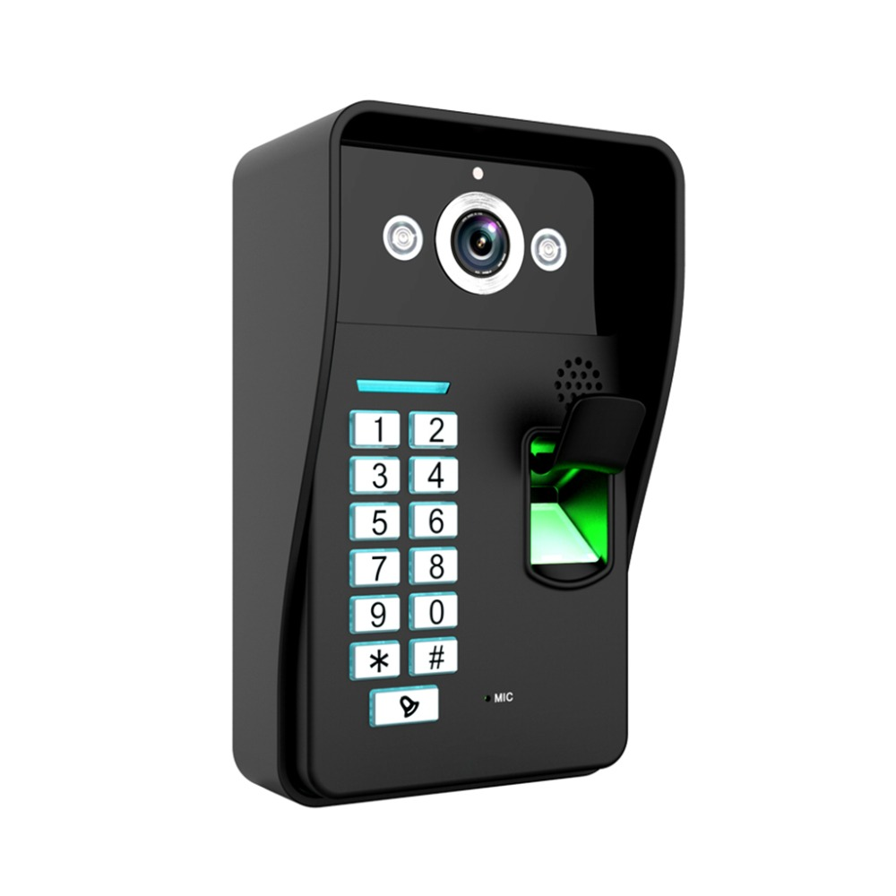 9 Touch Monitor Fingerprint Code ID card Unlock Video Record Door Phone Video Intercom Doorbell Doorphone + 8GB card record