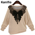 2016 Spring Autumn Winter New Fashion Women Lace Bow Sweaters and Pullovers Thin Knitted Shirt Tops Plus Size Clothing XL XXXXXL