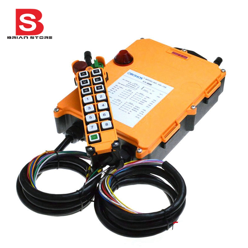 цена на 12-24VDC 14 Channels 1 Speed 1 Transmitter Hoist Crane Truck Radio Remote Control System with Emergency-Stop