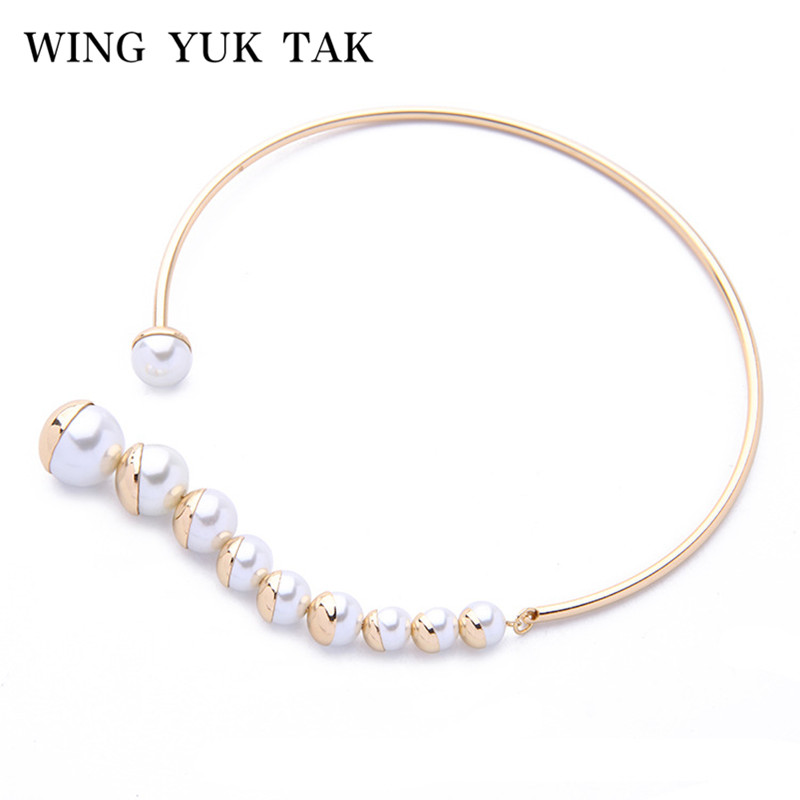 купить wing yuk tak Brand New Trendy Simulated Glass Pearl Collar Maxi Necklace Luxury Jewelry Torques Choker Necklace for Women по цене 268.02 рублей