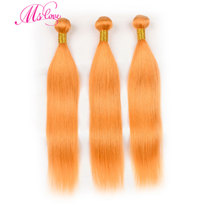 Image 2 - Pre colored orange hair bundles with closure 스트레이트 24 26 28 30 레미 브라질 인간의 머리카락 3 4 묶음 MS love