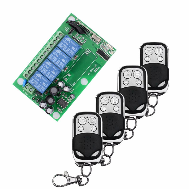 AC 85V~250V 110V 220V 4CH Wireless Remote Control Switch System Remote Switch Learning Code Receiver + 4PCS Metal Transmitter 2016 new ac 85v 110v 120v 220v 1ch rf wireless remote control system radio switch remote switch 220v learning code receiver