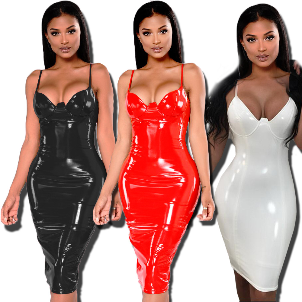 Plus Size S-6XL Faux Leather Deep V Spaghetti Strap Dress Women Black Red White PU Leather Dress Zipper Dresses 2019 New