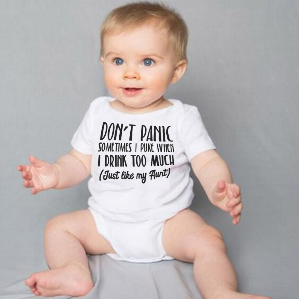 Don't Panic Just Like My Aunt Letters Print Little 2020 Baby Bodysuit White Onesie Girls Boys Clothes Summer Cotton Outfits