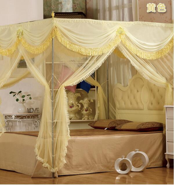 Us 138 59 Luxury Hight Qc 4 Post Bed Curtain Canopy Mosquito Nets Full Queen King Size With 22mm Bracket In Net From Home Garden On