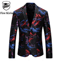 Kirin fuego Marca Hombres Chaqueta de La Chaqueta de Los Hombres Blazer Diseños de Lujo Moda Impreso Patrón de Pesca de Homens Blazer Clásico Traje de Baile Q217
